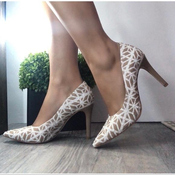3703982b1d5 ANTONIO MELANI Shoes - Antonio Melani Maribeth Geometric White Tan Pumps